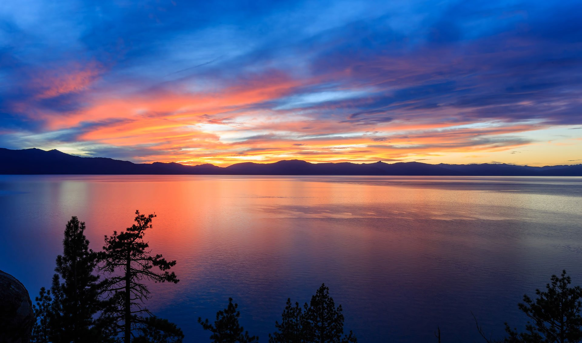 Beautiful sunset over Lake Tahoe