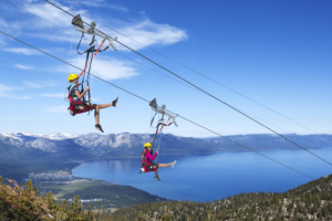 The Heavenly Flyer zip line at Heavenly Mountain Resort, South Lake Tahoe, CA.