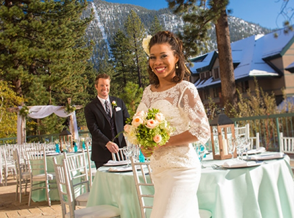 Patio wedding with Heavenly views