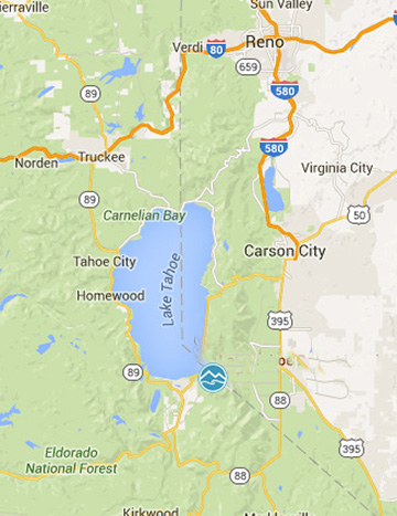 Map of the Tahoe area