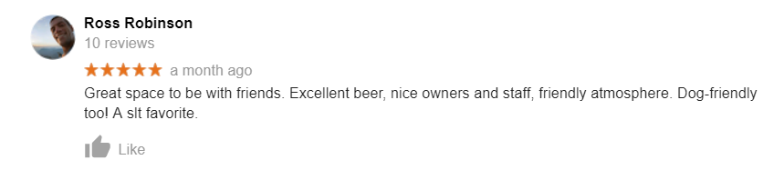 South Lake Brewing Company Google review