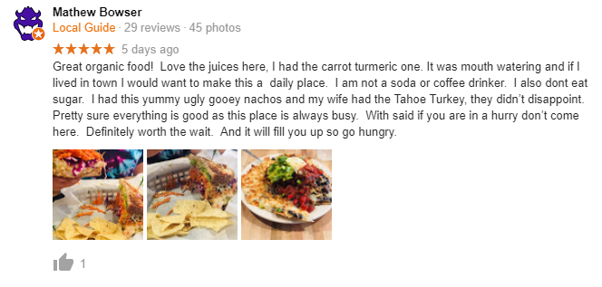 Sprouts Cafe review on Google