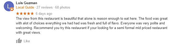Google review for The Beacon in Tahoe.