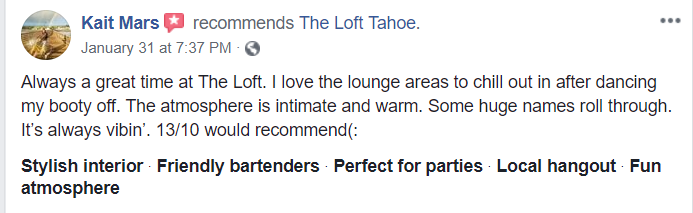 Facebook review for The Loft